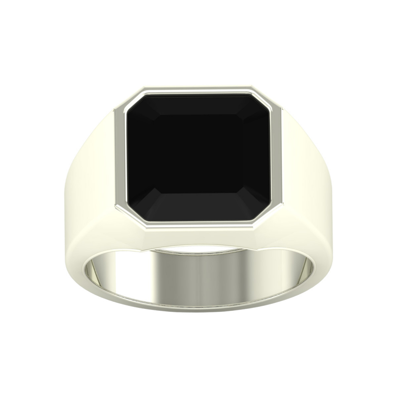 Bague Or Blanc Onyx Homme 9.25grs