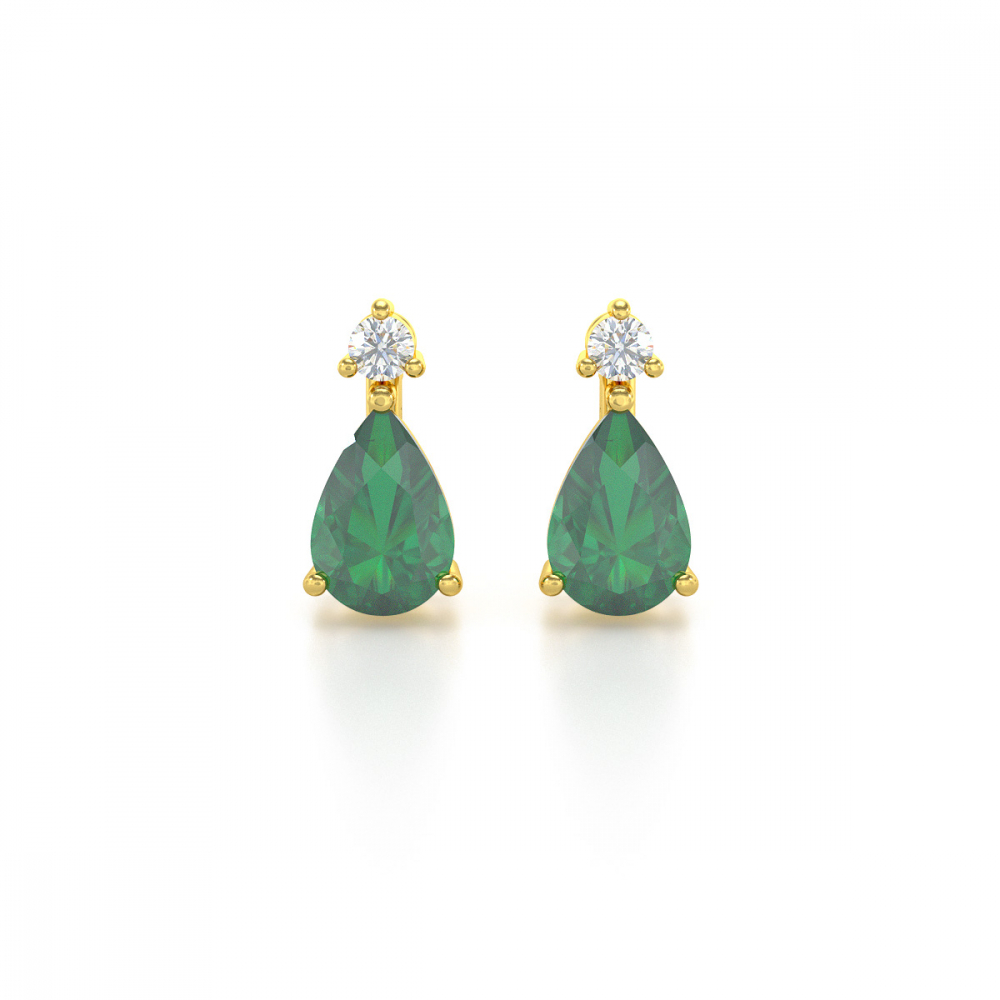 Boucles d'oreille Or Jaune Emeraude forme Poire et Diamants 1.15grs