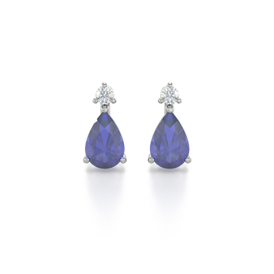 Boucles d'oreille Or Blanc Tanzanite et Diamants 1.15grs