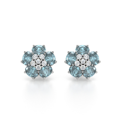 Boucles d'oreille Or Blanc Aigue-Marine Fleur et Diamants 2.86grs