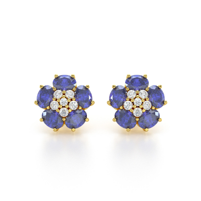 Boucles d'oreille Or Jaune Tanzanite Fleur et Diamants 2.86grs
