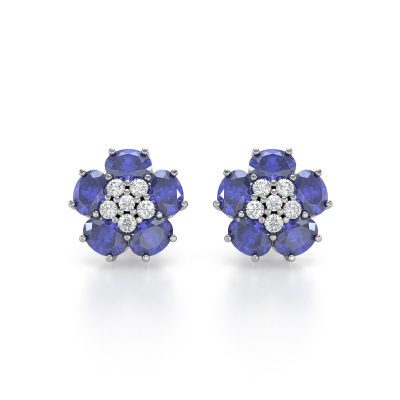 Boucles d'oreille Or Blanc Tanzanite Fleur et Diamants 2.86grs