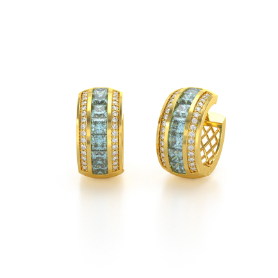 14K Gold Aquamarin Diamanten Ohrringe