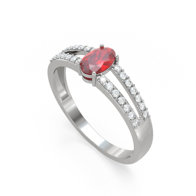Bague Or Blanc Rubis et diamants 2.102grs