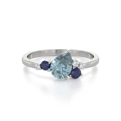 Bague Or Blanc Aigue-Marine Saphir et diamants 2.296grs