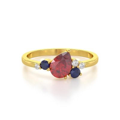 Bague Or Jaune Rubis Saphir et diamants 2.296grs