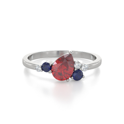 Bague Or Blanc Rubis Saphir et diamants 2.296grs