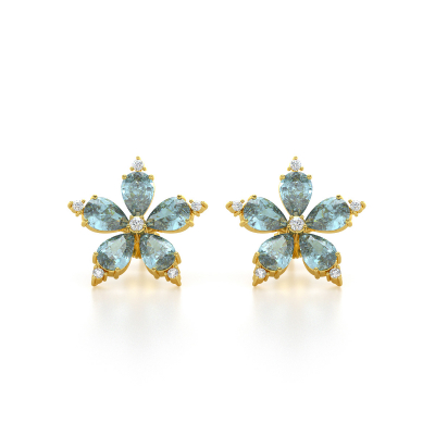 Boucles d'oreille Or Jaune Fleur Aigue-Marine et Diamants 4.52grs
