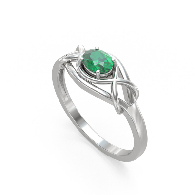 925 Silver Emerald Ring
