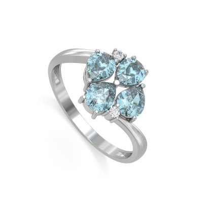 Bague Or Blanc Aigue-Marine et diamants 1.87grs