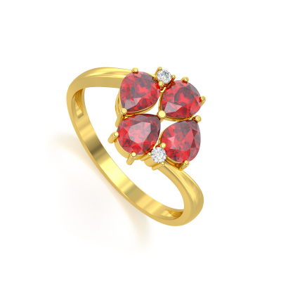 Bague Or Jaune Rubis et diamants 1.87grs