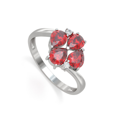 925 Silver Ruby Diamonds Ring