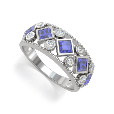 925 Silver Tanzanite Diamonds Ring