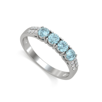 925 Silver Aqumarine Diamonds Ring