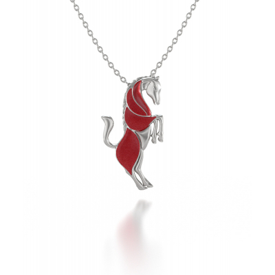 925 Sterling Silver Coral cat Pendant